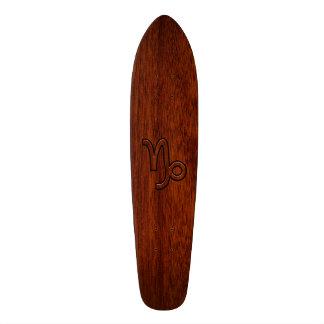 Capricorn Zodiac Symbol in Mahogany Brown Skateboards