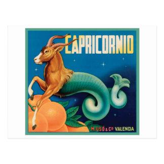 Capricornio Vintage Crate Label Postcard