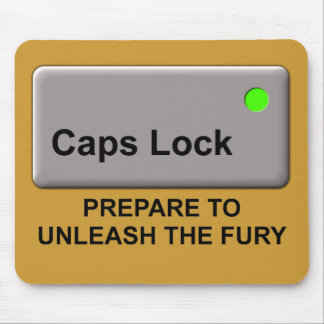 Caps Lock Fury Funny Mousepad Mouse Pad Humor