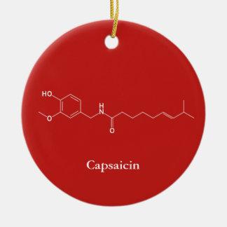 Capsaicin Molecule Chemistry Cute Chilli Lovers Ceramic Ornament