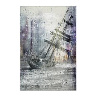 Capsized sailing ship acrylic wall art