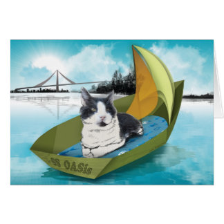 Capt Oliver & the SS OASis (Cat on a boat card) Card
