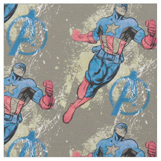 Captain America Avenger Grunge Graphic Fabric