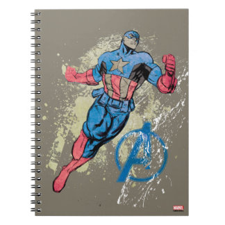 Captain America Avenger Grunge Graphic Spiral Note Book