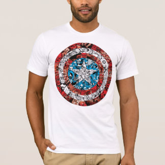 Captain America Comic Patterned Shield T-Shirt