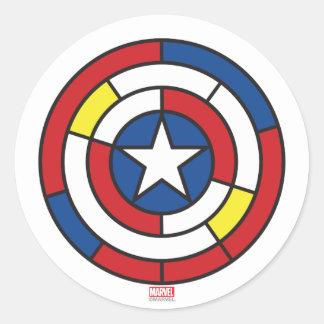 Captain America De Stijl Abstract Shield Classic Round Sticker