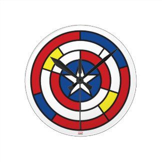 Captain America De Stijl Abstract Shield Clock
