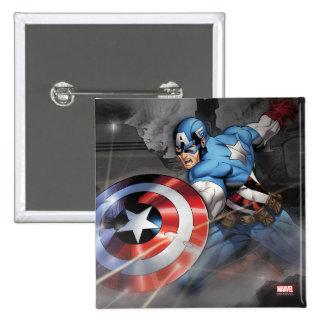 Captain America Deflecting Attack 15 Cm Square Badge