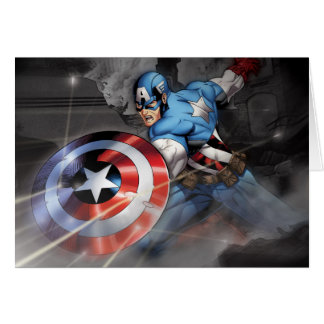 Captain America Deflecting Attack Card