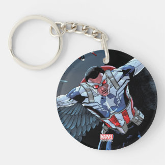 Captain America Fighting Crime Double-Sided Round Acrylic Key Ring