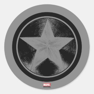 Captain America Grunge Shield Classic Round Sticker