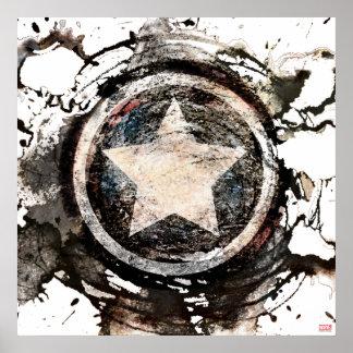 Captain America Grunge Shield Poster