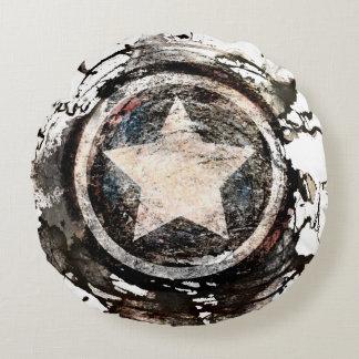 Captain America Grunge Shield Round Cushion