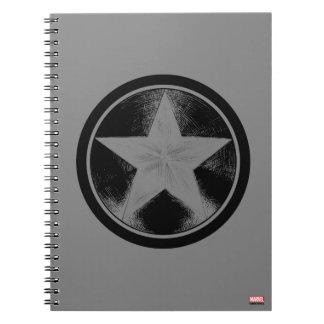 Captain America Grunge Shield Spiral Note Books