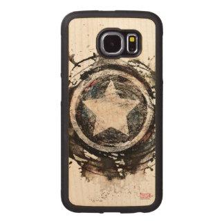 Captain America Grunge Shield Wood Phone Case