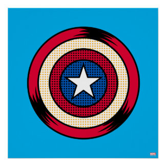 Captain America Halftone Shield Poster