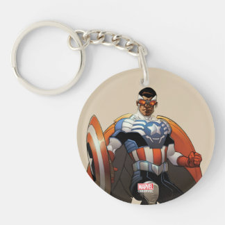 Captain America In Flight Double-Sided Round Acrylic Key Ring