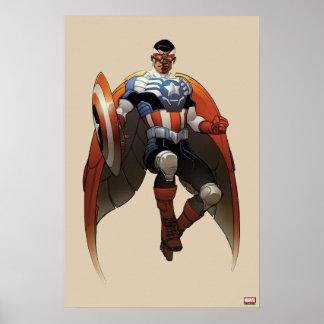 Captain America In Flight Poster