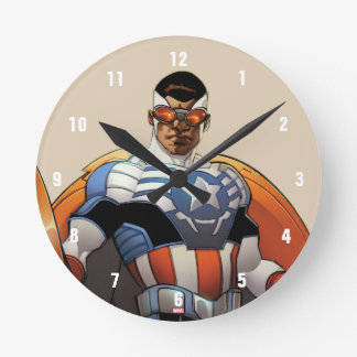 Captain America In Flight Round Clock
