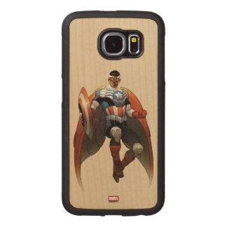 Captain America In Flight Wood Phone Case