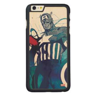 Captain America Ink Splatter Graphic Carved Maple iPhone 6 Plus Case