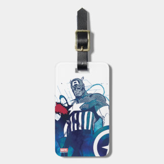 Captain America Ink Splatter Graphic Luggage Tag
