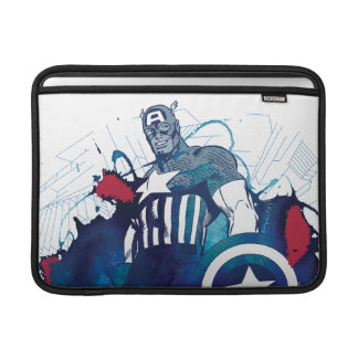 Captain America Ink Splatter Graphic MacBook Sleeve