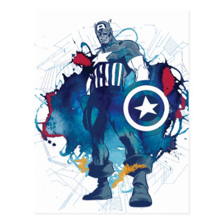 Captain America Ink Splatter Graphic Postcard