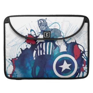Captain America Ink Splatter Graphic Sleeve For MacBook Pro