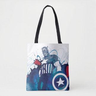 Captain America Ink Splatter Graphic Tote Bag