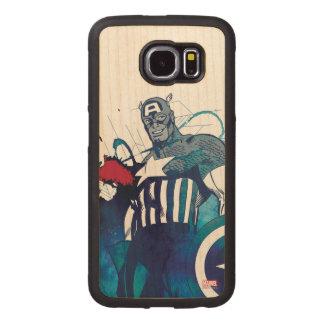 Captain America Ink Splatter Graphic Wood Phone Case