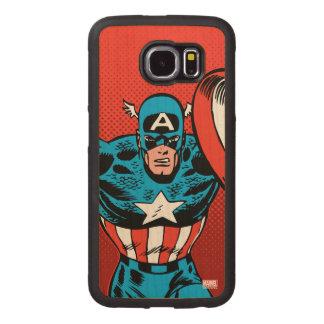 Captain America Jump Wood Phone Case