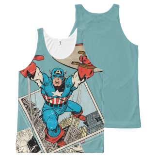 Captain America Leaping Out Of Comic All-Over Print Singlet