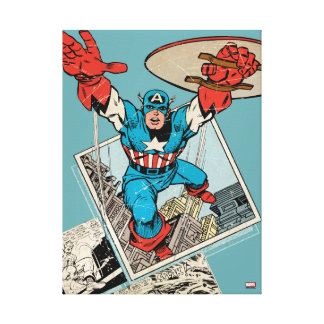 Captain America Leaping Out Of Comic Canvas Print