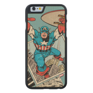 Captain America Leaping Out Of Comic Carved Maple iPhone 6 Case