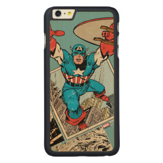 Captain America Leaping Out Of Comic Carved Maple iPhone 6 Plus Case