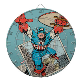 Captain America Leaping Out Of Comic Dartboard