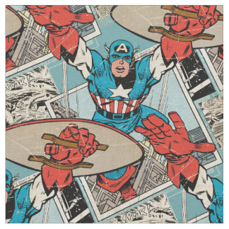 Captain America Leaping Out Of Comic Fabric