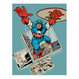 Captain America Leaping Out Of Comic Postcard