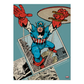 Captain America Leaping Out Of Comic Poster