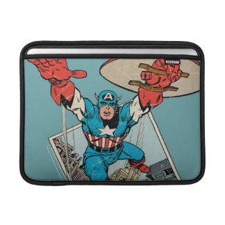 Captain America Leaping Out Of Comic Sleeve For MacBook Air