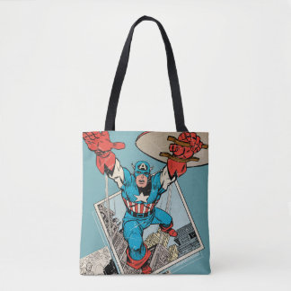 Captain America Leaping Out Of Comic Tote Bag