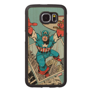 Captain America Leaping Out Of Comic Wood Phone Case
