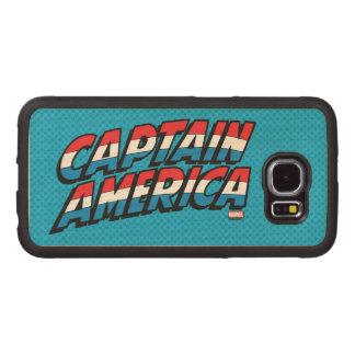 Captain America Name Logo Wood Phone Case