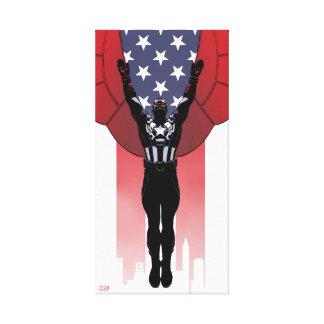 Captain America Patriotic City Graphic Canvas Print