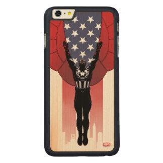 Captain America Patriotic City Graphic Carved Maple iPhone 6 Plus Case