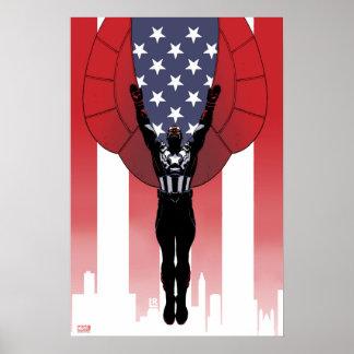Captain America Patriotic City Graphic Poster