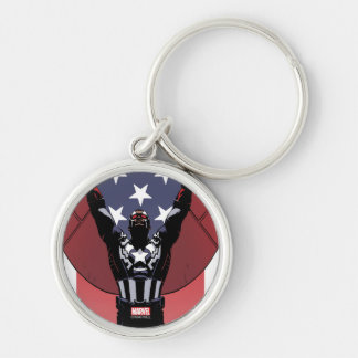 Captain America Patriotic City Graphic Silver-Colored Round Key Ring