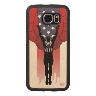 Captain America Patriotic City Graphic Wood Phone Case