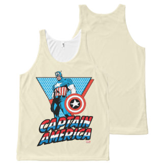 Captain America Retro Character Graphic All-Over Print Singlet